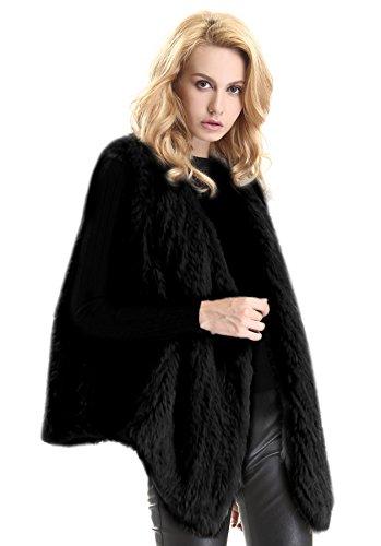 Escalier Women's Real Rabbit Fur Vest Winter Knitted Elegant Fur Waistcoat Jackets