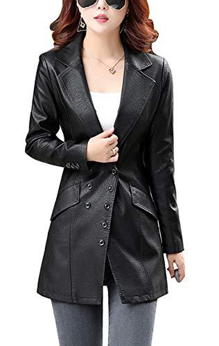 (chouyatou Women's Mid-Length Double Breasted Faux Leather Jacket Suit Blazer Coat (X-Large, Black))