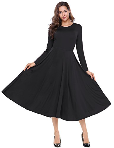 long black a line dress - 4