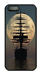 Pirate Ship Moon Polycarbonate Custom iPhone 5S/5 Case Cover - Black