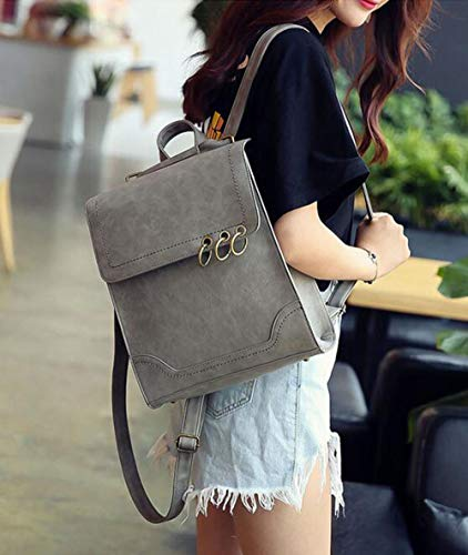 Iron Wind New Personality Ring Shoulder Retro Black Woman Leisure Backpack College Bag EqzA7nz