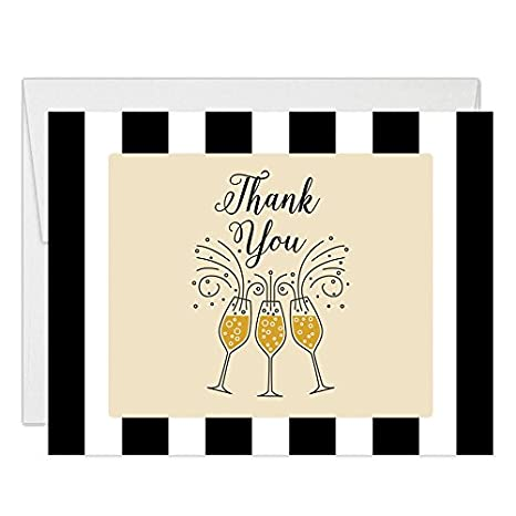 Amazon Com Bubbly Champagne Thank You Cards With Envelopes Pack