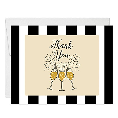 Bubbly Champagne Thank You Cards with Envelopes ( Pack of 50 ) Folded Thanks Notes College University High School Graduation Thank You Notecards See Matching Grad Party Invites Excellent Value VT0022 -