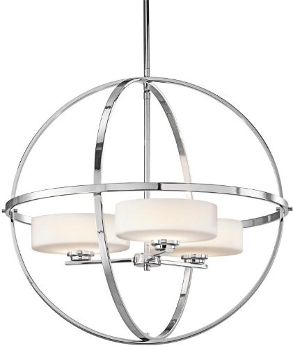 Kichler 42505CH Olsay Chandelier 3-Light Halogen, Chrome - 22.75 in H x 22.5 in W; 10.1 lb Requires (3) G9 bulbs, included Chrome finish with Satin Etched Cased Opal glass - kitchen-dining-room-decor, kitchen-dining-room, chandeliers-lighting - 41J5FwhB5TL -