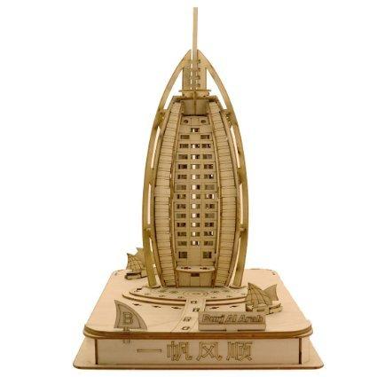 Sidiou Group Merry Puzzle 3D Wooden Puzzle DIY Model Burj Al Arab with LED Light (L) Burj Al Arab Puzzle