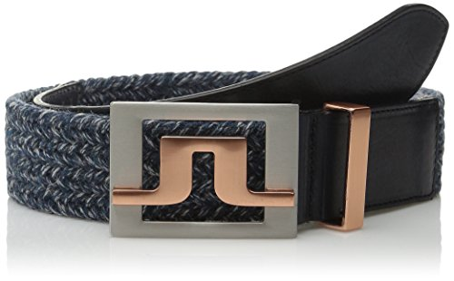 J.Lindeberg Men's Slater 40 2 Herringbone Belt, Navy/Purple, 100