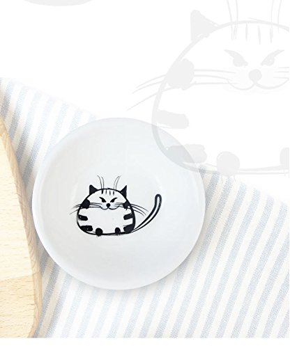 Hoocozi Small Size Resuable Round Ceramic Cat Pattern Saucer Plates, Porcelain Seasoning Dishes Tea Cup Holders, 6Pcs, White