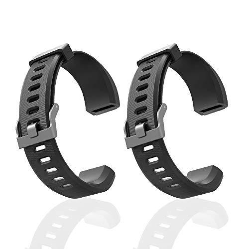 Aneken Replacement Band ID115Plus HR Adjustable Strap for Smart Bracelet Fitness Tracker, 2 Pack (Black) ()
