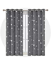 Deconovo Foil Print STAR Eyelet Blackout Curtains Pair