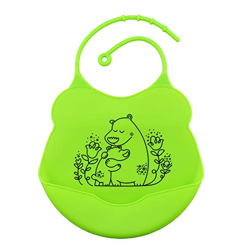 Sweetlover Waterproof Silicone Baby Bibs Wide Food Crumb Catcher Pocket Quick Drying Unisex Bibs