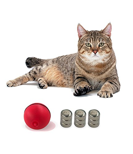 YOFUN Interactive Cat Toy 360 Degree Self Rotating Ball Automatic Light Toy Pet(Batteries Included,5 Packs Batteries in Total) 4