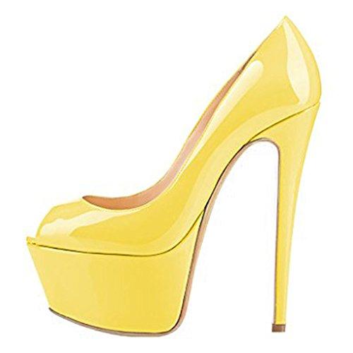 Amarillo EKS cuña amarillo mujer con Sandalias ZxHxCqf