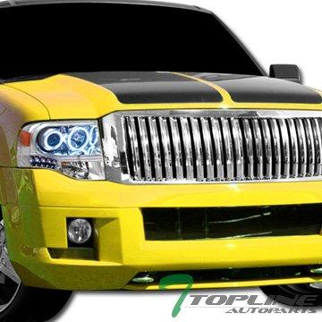 Topline Autopart Chrome Vertical Front Hood Bumper Grill Grille ABS For 07-14 Ford (Chrome Vertical Hood)