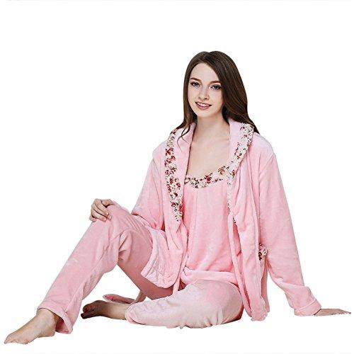 Depaud Womens Floral Flannel Pajamas Set (Pajama+Pant+Camisole) Pink M