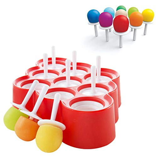 Sticks Pop Freezer (Reusable Mini Pop Molds,9 Miniature Popsicle Molds With Sticks and Drip-guards,Easy-Release and BPA-free Silicone,DIY Ice Cream Maker Kit and Candy Chocolate Mould for Baby,Kids,Family,Adults(Red))