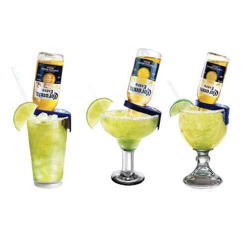 Corona-Rita Margarita Holder – Set of 4 Yellow/Blue (Yellow)