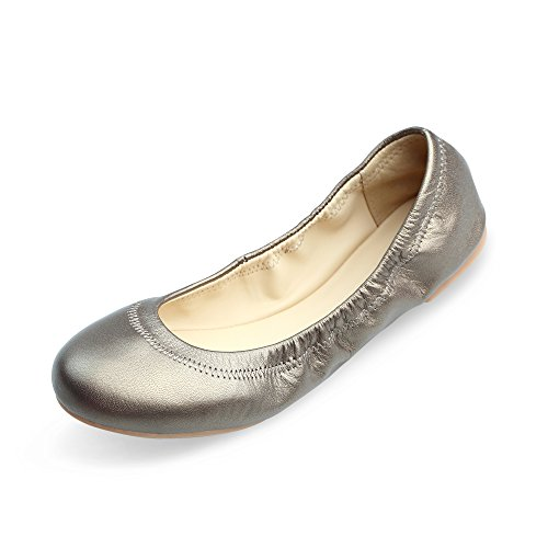 Xielong Women's Chaste Ballet Flat Lambskin Loafers Casual Ladies Shoes Leather Gold 9.5
