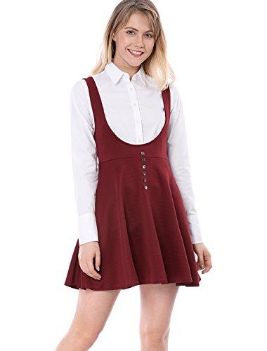 (Allegra K Women's Button Decor Flared Hem Above Knee Dress Suspender Skirt S Red)