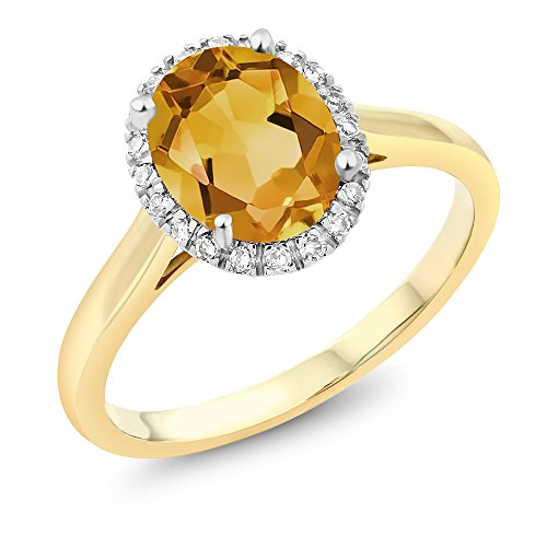 2 Tone Diamond Heart - Gem Stone King 10K 2-Tone Gold Oval Yellow Citrine and Diamond Halo Engagement Ring 1.50 Ct (Size 7)