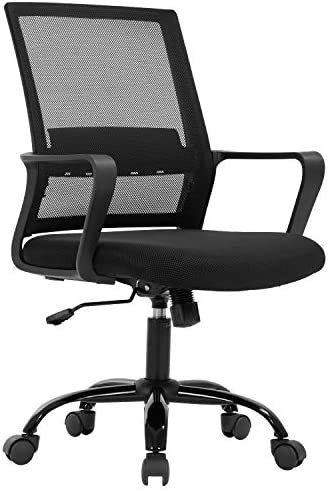 Home Office Chair Ergonomic Desk Chair Mid-Back Mesh Computer Chair Lumbar Support Comfortable Executive Adjustable Rolling Swivel Task Chair with Armrests,Black
