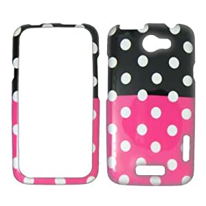 HTC ONE X - 1 X - AT&T - White Polka Dots on Hot Pink on Black Plastic Case, SnapOn, Protector, Cover