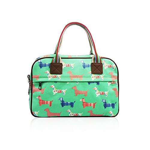 Venta–Funda estilo mate de perro salchicha lienzo bolso por la noche Verde