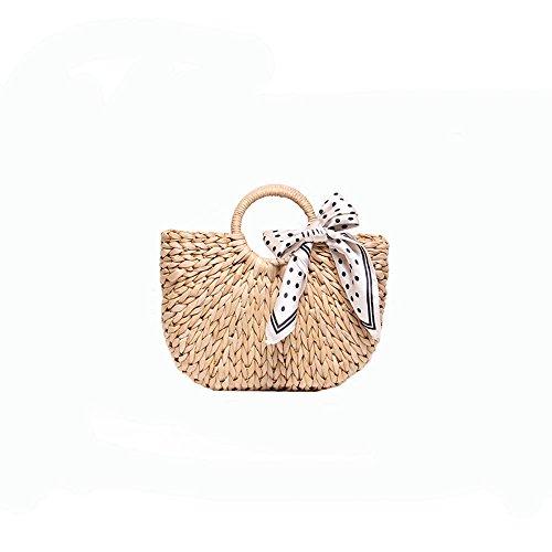Straw Beach Ladies Silk White GAOQQ Bag Bag Handbag Striped Weave Scarf White Semicircle dEwqnx4