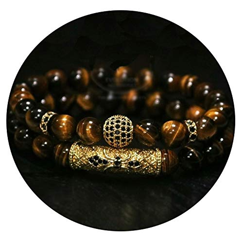 QIUHUAXIANG 2Pcs/ Set of Luxury Natural Tiger Eye Stone Bracelet Ladies Men Jewelry Necklace Bracelet Gift,Style 2,21cm