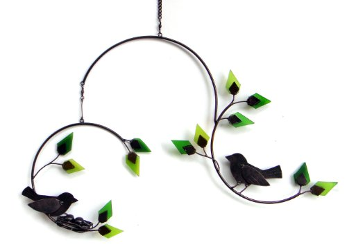Blue Handworks Forest Birds Yard Art with Glass Leaves Mobile