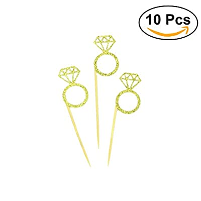 TOYMYTOY Glitter Golden Diamond Ring Cupcake Toppers Wedding Decorations Food Picks 10PCS