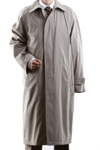 Men's Single Breasted Taupe Full Length All Year Round Raincoat