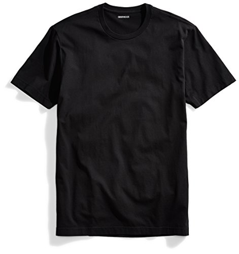 Goodthreads Men's Short-Sleeve Crewneck Cotton T-Shirt, Black, Medium