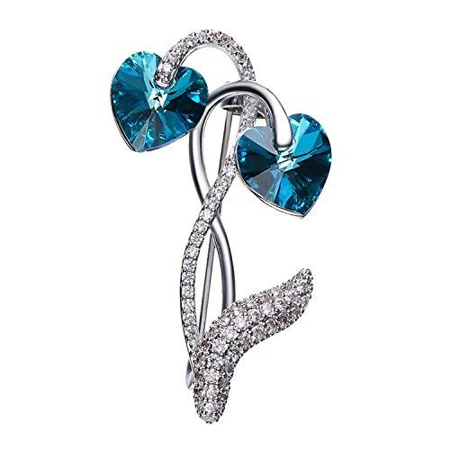 Mondora Women's Elegant Love Heart Prom Brooch Pin Cubic Zirconia Bermuda Blue Made with Swarovski Crystals