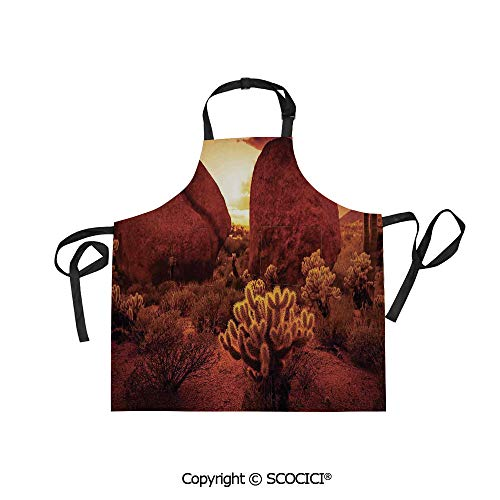 SCOCICI Men Woman Kitchen Printed Apron with Adjustable Neck 2 Side Pockets,Dramatic Desert Scenery Like Burnt by Sun Near Scottsdale Hot Rocks Serene Western Image,for Cooking Baking Gardening