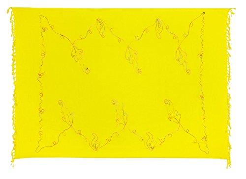 Sarong Pareo Wickelrock Strandtuch Tuch Blickdicht Stickerei Gelb + Schnalle