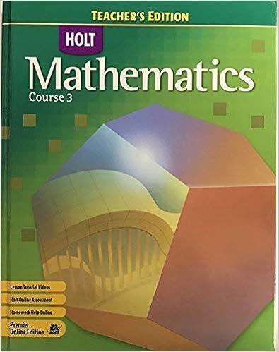 Holt Mathematics Teacher S Edition Course 3
