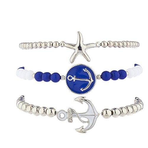 Lux Accessories Silvertone Blue White Nautical Anchor Starfish Arm Candy Set