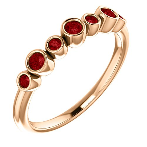 - Created Chatham Ruby 7-Stone 3.25mm Ring, 14k Rose Gold, Size 7.5
