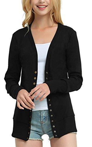 Steven McQueen Women's Solid Button Front Knitwears Long Sleeve Casual Cardigans Black S (Snap Womens Black)