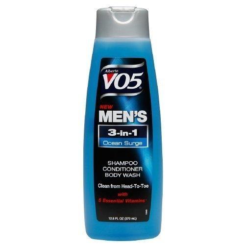 Alberto VO5 Mens 3-IN-1 Shampoo, Conditioner & Body Wash, Oceans Surge12.5 fl oz (Set of 3) by V05