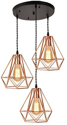 GRFH Modern Iron Diamond Pendant Lights Creative Plated Rose Gold Three Head Ceiling Lights Restaurant Bar Stores Clothing Pendant Lamp E27 220V 110V, b