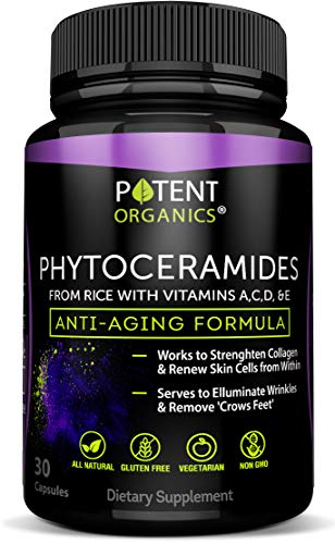 Phytoceramides Capsules 100 mg - The Most Potent Beauty Complex with Natural Anti Aging Vitamins - Boosts Collagen, Promotes Hydration and Skin Renewal- 30 Pills - 100% Risk-Free