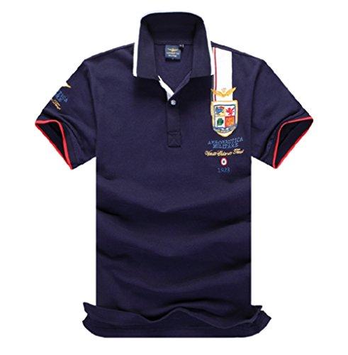 メンズ ポロシャツ 半袖 Tシャツカジュアル 紳士ポーツゴルフ シャツおしゃれ 2018人気 部屋着 吸汗速乾 3カラー (ネイビー, M)