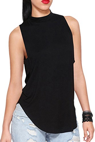 (Pink Queen Women's Cut Off Backless Side Slit Tank Top Black Size L)