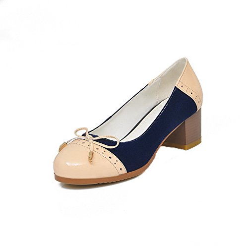 VogueZone009 Females Round Closed Toe Soft Patent Leather Kitten Heels Assorted Color Pump Shoes with Bowknot Yellow