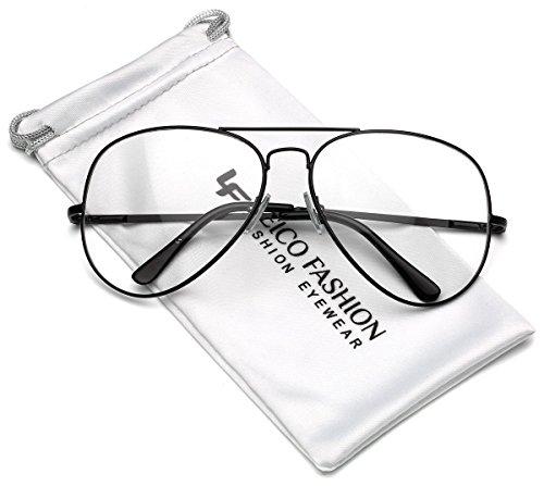 Full Rim Metal Retro Aviator Non Prescription Clear Lens Glasses - - Aviator Optical Glasses