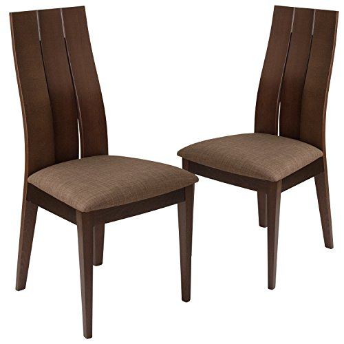 (Flash Furniture 2 Pk. Hadley Espresso Finish Wood Dining Chair with Wide Slat Back and Golden Honey Brown Fabric Seat)