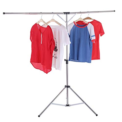 - lUKSY US-Direct Foldable Clothes Drying Rack Adjustable High Capacity Stainless Steel Laundry Hang Clothes Rack,Multifunctional Retractable Rack,Triangular Support Base
