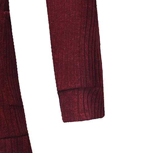Abrigos Tallas Bolsillo Hombres Prendas color Sólido Sudaderas Chaqueta Rojo Capa Casual Cárdigan Moda Dogzi M~3xl Fit Grandes Slim Suéter De Punto xwqUaIAx