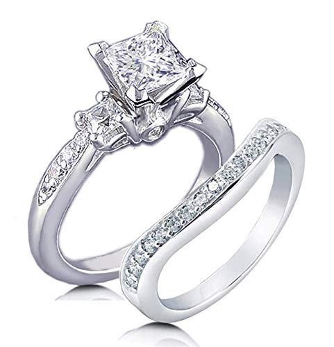 - Venetia Top Grade Realistic Princess Cut Simulated Diamond 3-Stones Ring Curved Band 2 Pcs Set Platinum Plated 925 Silver Cubic Zirconia cz rsnice3sq8
